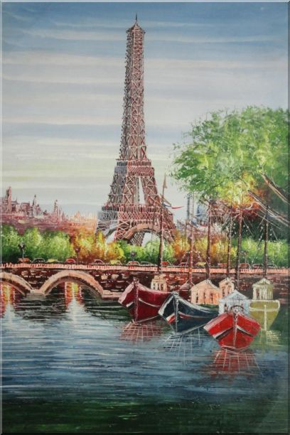 Small Boats, Eiffel Tower And Seine River With Bridge, Paris Oil Painting Cityscape France Impressionism 36 x 24 Inches