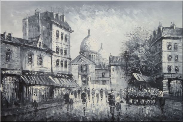 Black and White Paris Street Junction Scene Oil Painting Cityscape Impressionism 24 x 36 Inches