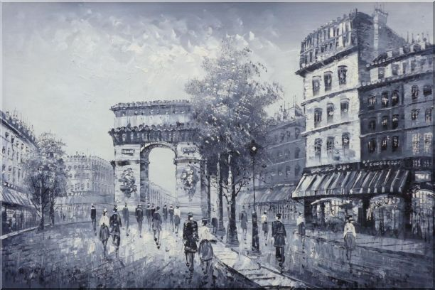 Black White Paris Street to Triumphal Arch Oil Painting Cityscape France Impressionism 24 x 36 Inches