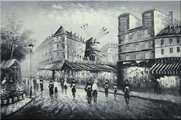 Moulin Rouge in Black and White Oil Painting Cityscape Impressionism 24 x 36 Inches