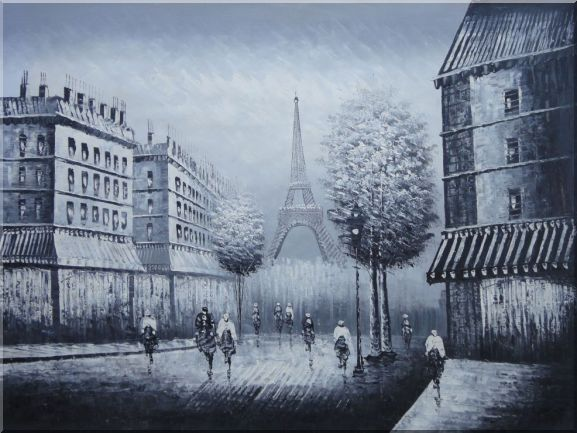 People Crossing Eiffel Tower Oil Painting Black White Cityscape Impressionism 36 x 48 Inches