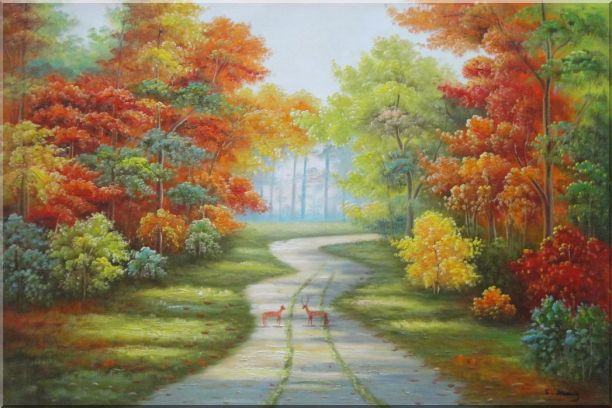 Two Deer on Pathway Of Autumn Forest Oil Painting Landscape Tree Naturalism 24 x 36 Inches