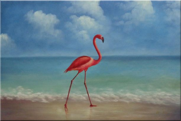 Lonely Red Flamingo Walk On Sand Beach Oil Painting Animal Bird Naturalism 24 x 36 Inches