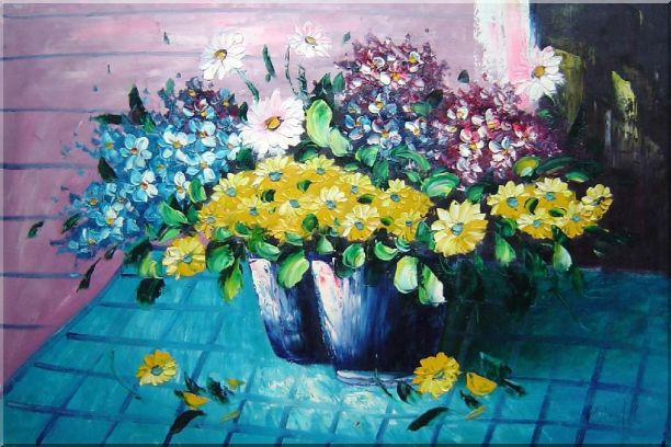 Colorful Daisy Flowers in Vase Oil Painting Still Life Bouquet Naturalism 24 x 36 Inches