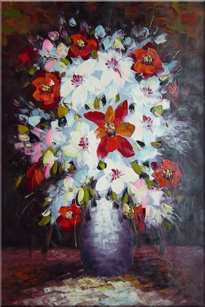 Beautiful Red, White and Pink Daisy and Lily Flowers in Vase Oil Painting Still Life Bouquet Impressionism 36 x 24 Inches