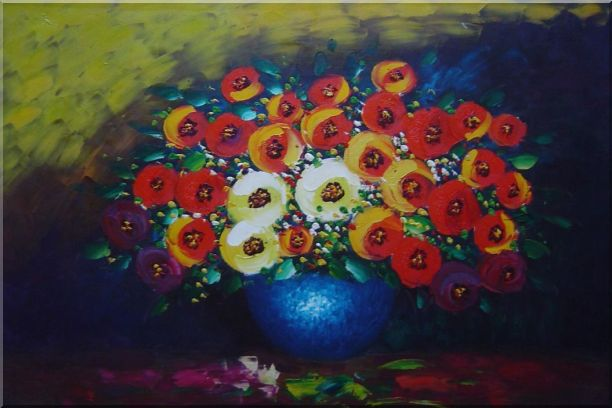 Red, Yellow and Blue Flowers Painting Oil Still Life Bouquet Impressionism 24 x 36 Inches
