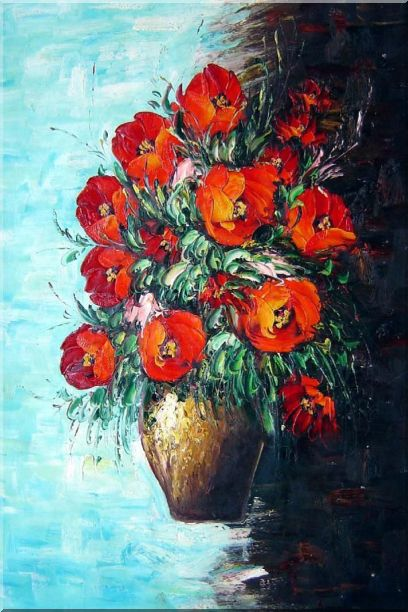 Red Fire Roses in Vase, Light Blue Background Oil Painting Flower Still Life Bouquet Naturalism 36 x 24 Inches