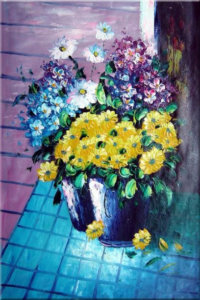 Yellow, Blue, White, Purple Daisy and Chrysanthemum Oil Painting Flower Still Life Bouquet Naturalism 36 x 24 Inches