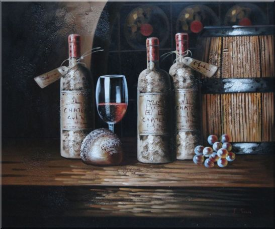 Still Life of Wine Cask, Wine Bottles, And Wine Glass Oil Painting Fruit Classic 20 x 24 Inches