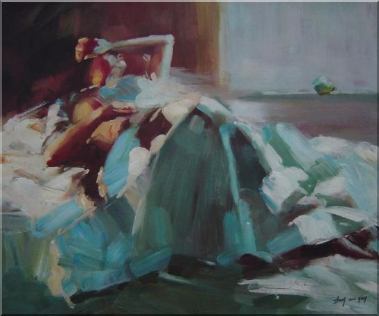 Girl Takes a Nap Under Summer Sunshine Oil Painting Portraits Woman Impressionism 20 x 24 Inches