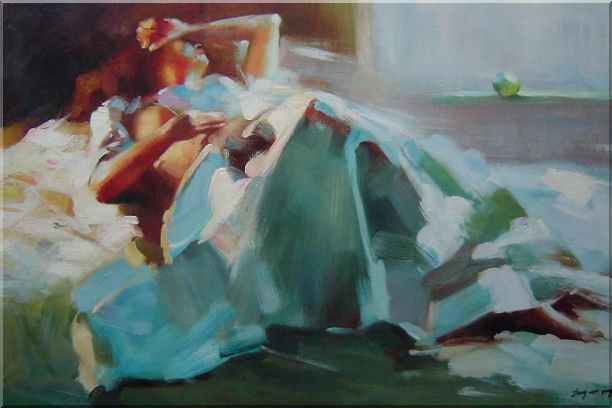 Girl Takes a Nap Under Summer Sunshine Oil Painting Portraits Woman Impressionism 24 x 36 Inches