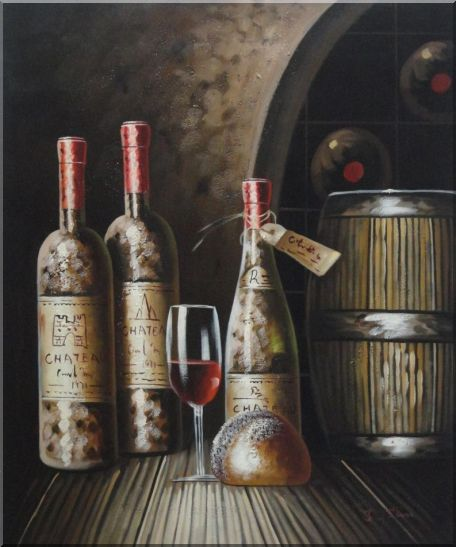 Wine Cask, Wine Bottles and Glass Of Wine in Wine Cellar Oil Painting Still Life Classic 24 x 20 Inches