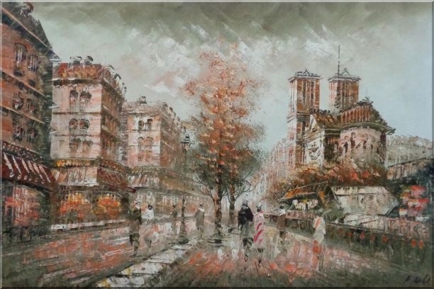 Walk on Street Near Notre-Dame Cathedral in Paris, Warm Color Oil Painting Cityscape France Impressionism 24 x 36 Inches
