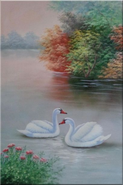Beautiful White Swan Couple On Scenic Lake with Flowers Oil Painting Animal Naturalism 36 x 24 Inches