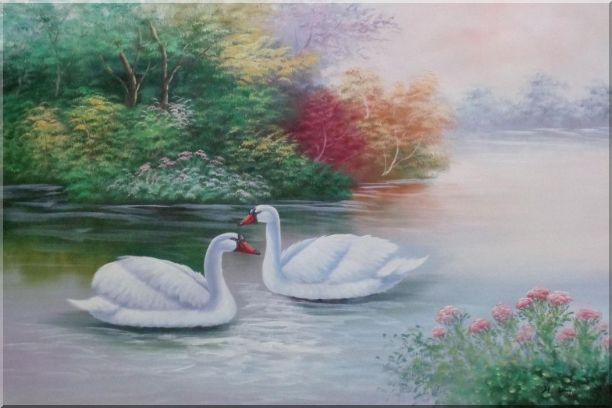 Lovely Pair of White Swans in Peaceful Lake Oil Painting Animal Classic 24 x 36 Inches