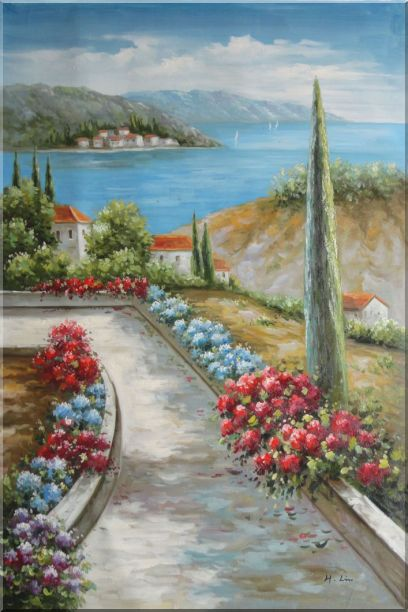 Beautiful Flowers Along the Coastal Walkway Oil Painting Mediterranean Naturalism 36 x 24 Inches