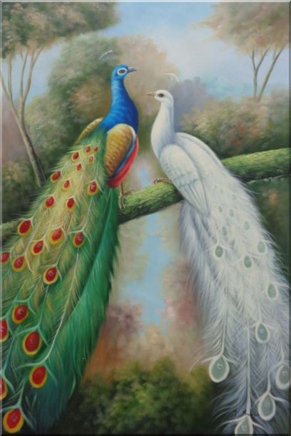 Blue and White Peacocks in Garden Oil Painting Animal Naturalism 36 x 24 Inches