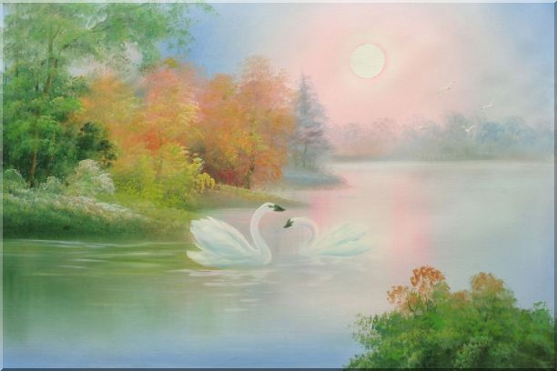 Lovely Pair of Swans in Peaceful Lake Oil Painting Animal Classic 24 x 36 Inches