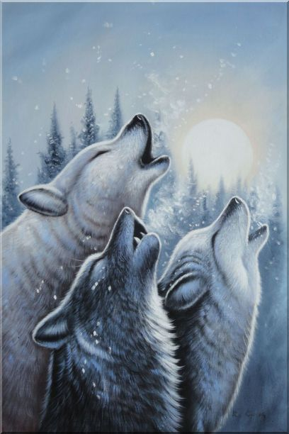 Three Howling Wolves in Snowing Forest with Moonlight Oil Painting Animal Wolf Naturalism 36 x 24 Inches