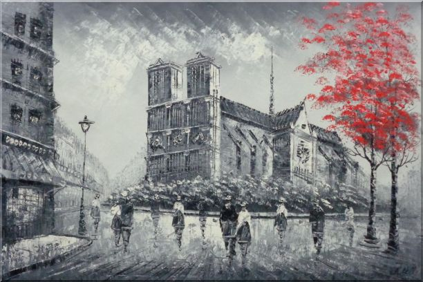 Black White Notre-Dame's Western Facade with Red Trees Oil Painting Cityscape France Impressionism 24 x 36 Inches