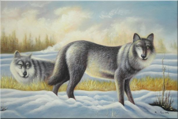 Two Vigilant Wolves on Watch in Snow Wild Oil Painting Animal Wolf Naturalism 24 x 36 Inches