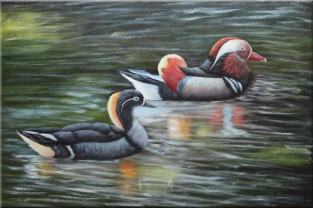 Female Mandarin Duck Following with Male Duck in Water Oil Painting Animal Bird Naturalism 24 x 36 Inches
