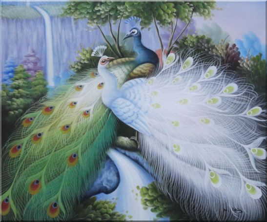 Two Peacocks Roost In Shrubs Oil Painting Animal Naturalism 20 x 24 Inches