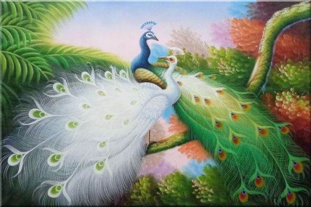 Two Peacocks Roost In Shrubs Oil Painting Animal Naturalism 24 x 36 Inches