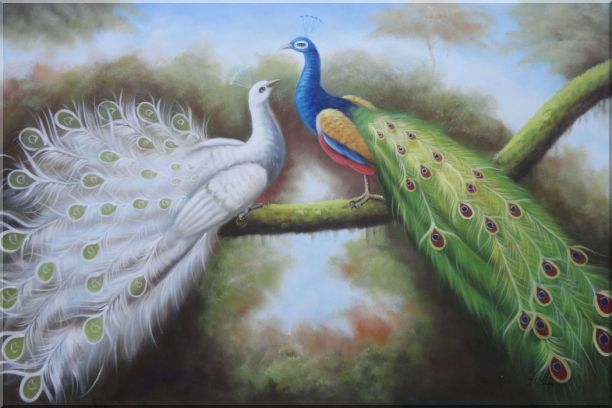 Beautiful Blue and White Peacocks Playing with Each Other Oil Painting Animal Naturalism 24 x 36 Inches