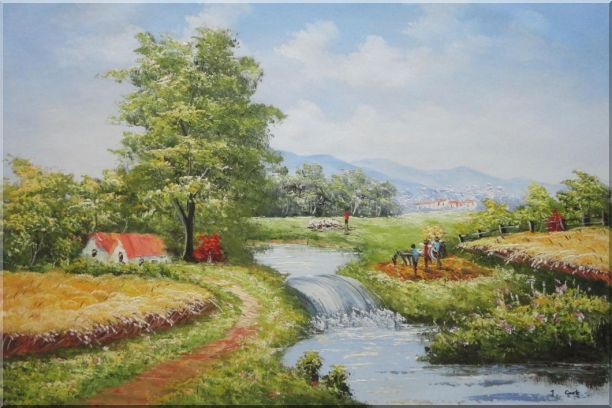 Earth Road and Stream Pass by Cottage With Small Spillway Oil Painting Village Naturalism 24 x 36 Inches