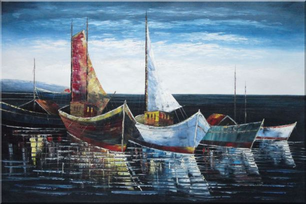 Boats at Harbor Oil Painting Impressionism 24 x 36 Inches