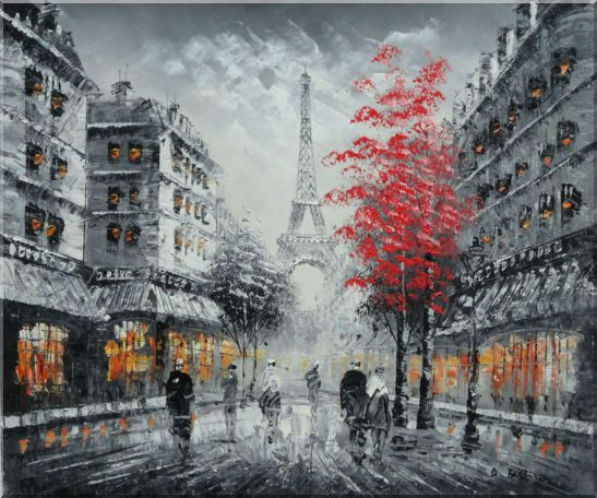 Romantic Evening Under Eiffel Tower, Paris Oil Painting Black White Cityscape France Impressionism 20 x 24 Inches