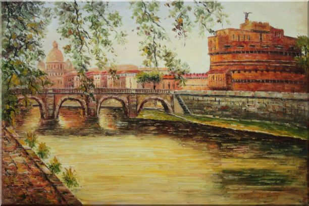 View Of Bridge Over Seine with Green Tree in Paris Oil Painting Cityscape France Impressionism 24 x 36 Inches