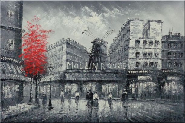 Black White Paris Street and Moulin Rouge with Red Tree Oil Painting Cityscape France Impressionism 24 x 36 Inches