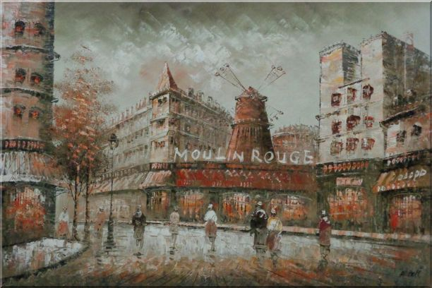 The Moulin Rouge Cabaret at Dusk Oil Painting Cityscape France Impressionism 24 x 36 Inches