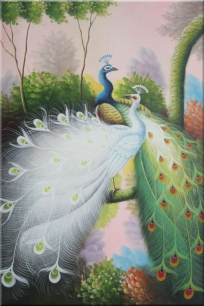 Beautiful Blue and White Peacocks On Tree Oil Painting Animal Naturalism 36 x 24 Inches
