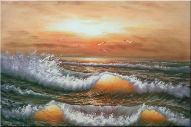 Waves Hit Rocks On Seashore in Sunset Glow Oil Painting Seascape Naturalism 24 x 36 Inches