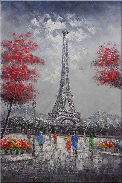 Eiffel Tower, Paris Romance Oil Painting Cityscape France Impressionism 36 x 24 Inches
