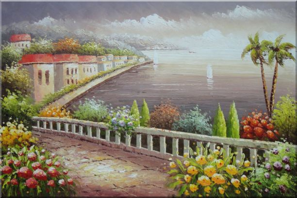 Mediterranean Coastline with Flower Garden Oil Painting Naturalism 24 x 36 Inches