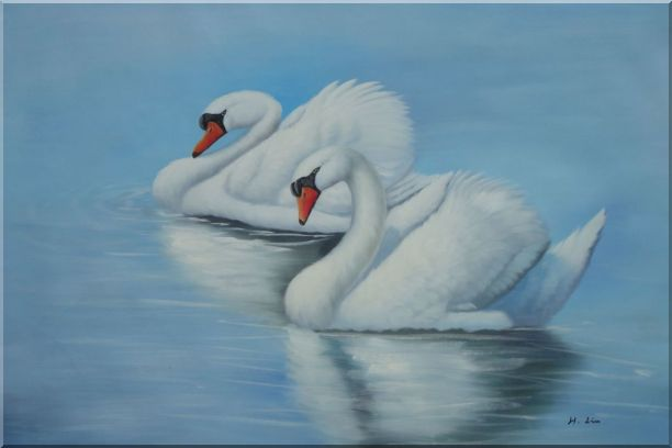 Two Lovely White Swans in Lake Oil Painting Animal Naturalism 24 x 36 Inches