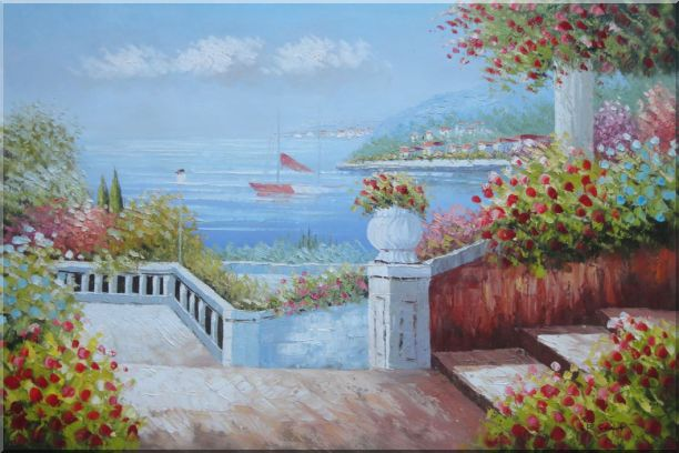 Gorgeous Italy Seashore Garden Patio Oil Painting Mediterranean Naturalism 24 x 36 Inches