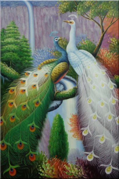 Blue and White Peacocks with Tree And Waterfall Oil Painting Animal Naturalism 36 x 24 Inches