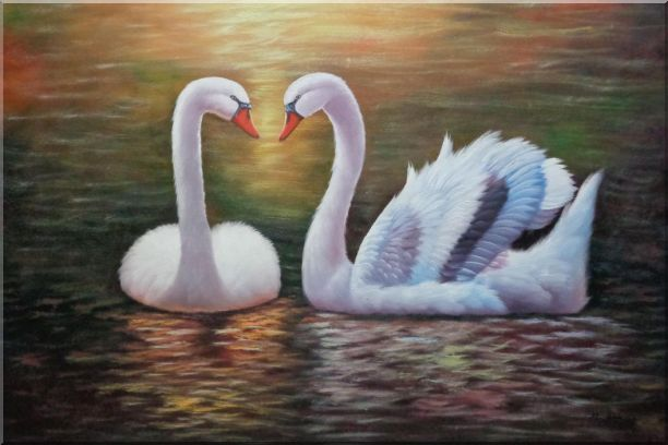 Pair Of Beautiful Swans Enjoying Their Time On Lake Oil Painting Animal Naturalism 24 x 36 Inches