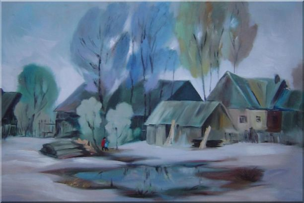 A Remote Hamlet Oil Painting Village Impressionism 24 x 36 Inches