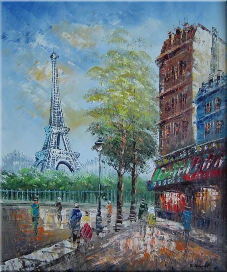 Dreaming of Paris Oil Painting Cityscape France Impressionism 24 x 20 Inches