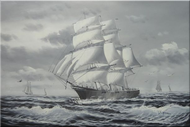 Black White Three-Masted Full-Rigged Sailing Ship on Sea Oil Painting Boat Classic 24 x 36 Inches