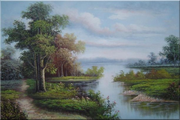 Riverside Landscape Scene Oil Painting Classic 24 x 36 Inches