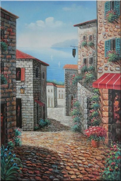Greek Stone Alley With Flowers Overlooking Mediterranean Sea Oil Painting Naturalism 36 x 24 Inches