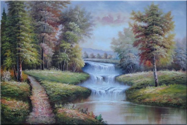 Trail, Yellow Trees, Waterfall in Autumn Oil Painting Landscape Classic 24 x 36 Inches