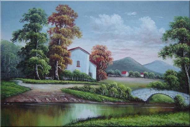Small Creek In Front of Village Oil Painting Landscape River Classic 24 x 36 Inches